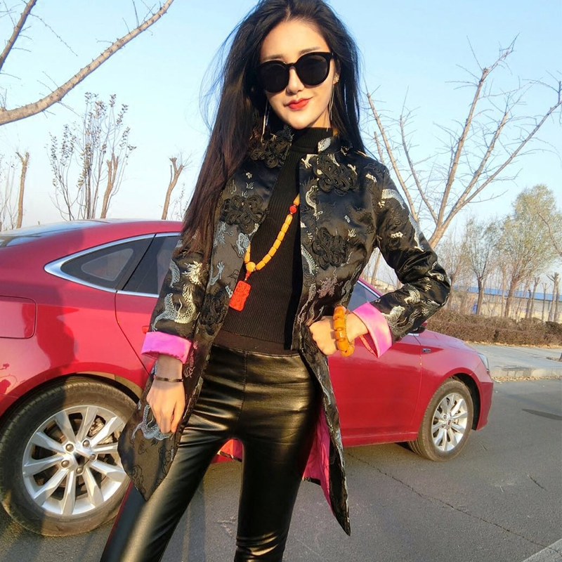 National wind coat female long paragraph autumn Chinese style embroidery plate buckle loose Tang suit jacket female