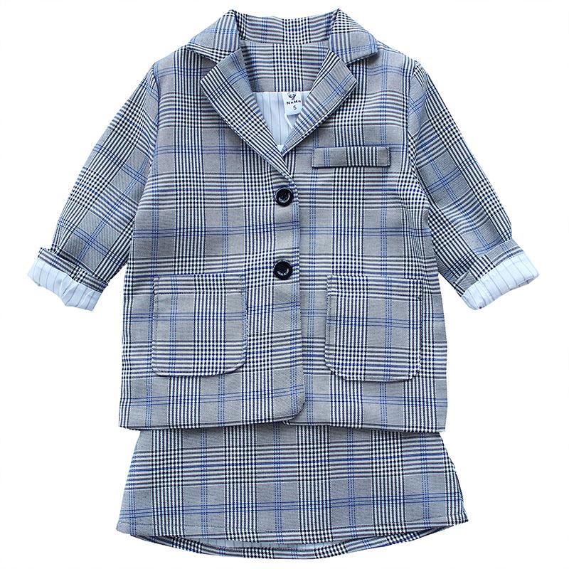 女童西装套装 2019春装新款韩版儿童洋气时尚翻领外套+短裙两件套