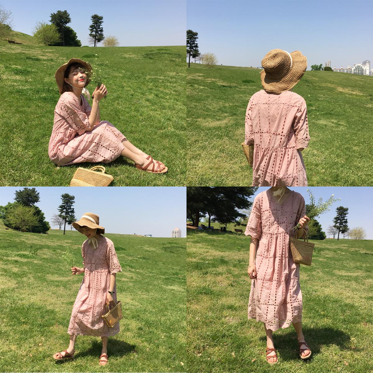 甜美纯色长裙