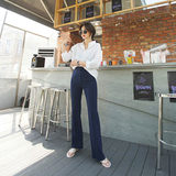 Commuter intellectual drape micro-horn suit pants Korean version of the slim slimming black casual trousers high waist 2019 summer