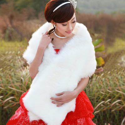 婚纱披肩礼服披肩 冬毛披肩 加厚加长毛一字披 冬季041