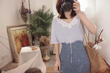 法式温柔睫毛蕾丝领口V领宽松条纹冰爽丝针织衫B1046