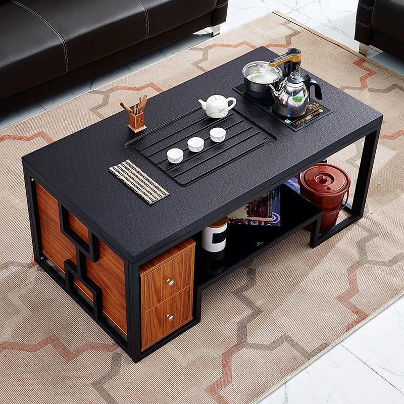 火烧石功夫茶桌简约现代创意不锈钢大理石泡茶台自动上水办公茶几