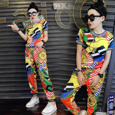 欧洲站2019韩版时尚休闲短袖长裤显瘦套装女链条复古花色休闲套装