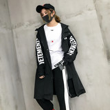 2019 autumn new popular windbreaker female long section hip hop jacket female street tide loose bf wind student wild