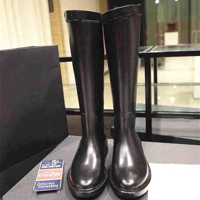 ANN长靴!秋冬平底女靴子骑士靴高筒靴粗跟马靴长筒军靴加绒