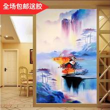 新中式抽象壁画山水七彩瀑布倒影小屋艺术玄关背景墙纸装饰画壁纸