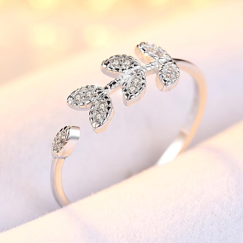 叶子纯银戒指