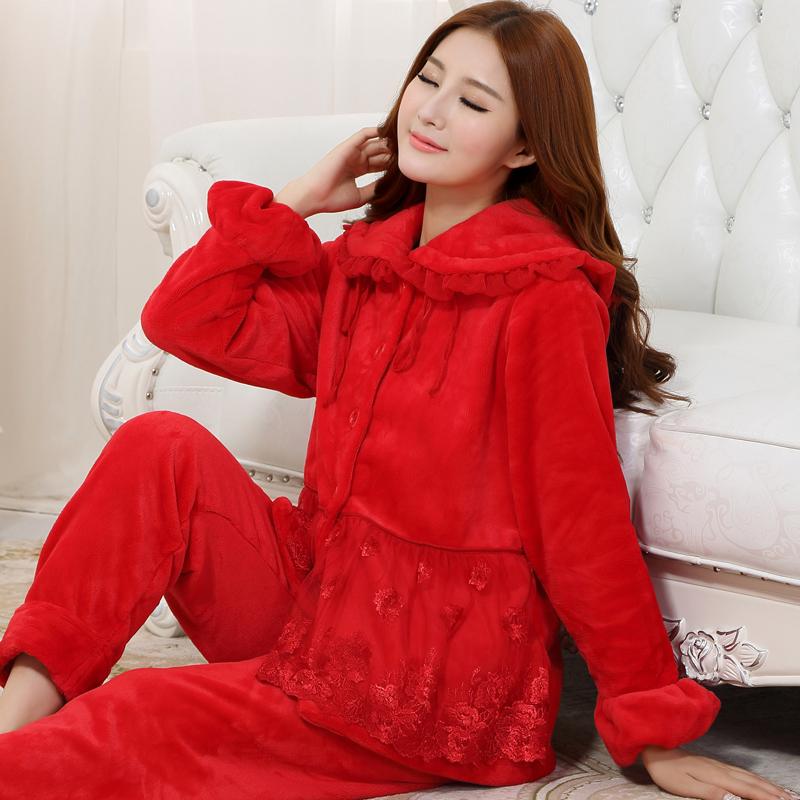 加绒大红睡衣