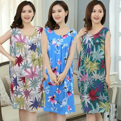 夏季绵绸中老年睡裙女薄款短袖妈妈睡衣人造棉加肥加大纯棉绸睡裙