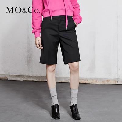 MOCO2018春季新品中高腰及膝百慕大中裤MA181SOT104 摩安珂