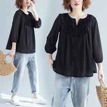 夏季新款大码女装雪纺九分袖上衣黑色木耳边立体贴花小V领衬衫女