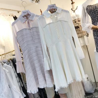 韩国ulzzang秋装小香风透视雪纺拼接呢子连衣裙立领长袖连体短裙