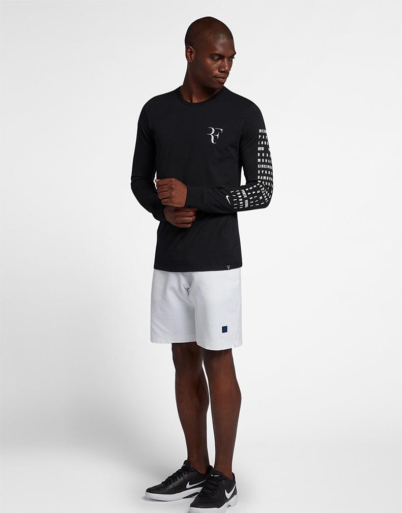 正品耐克网球服男2018秋冬新款RF卫衣长袖T恤速干透气训练运动服