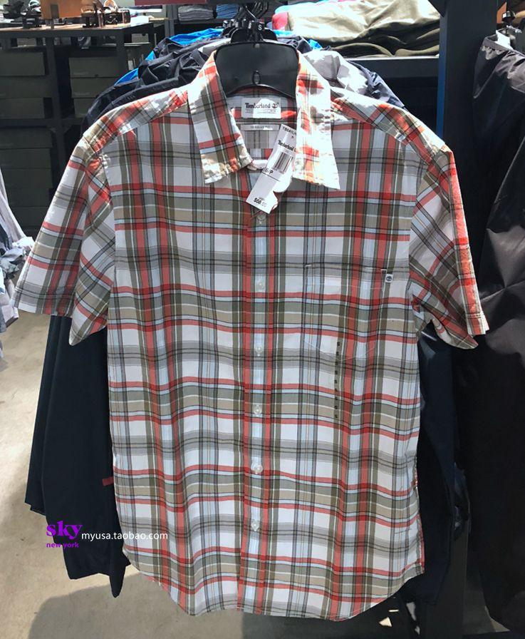 美国正品timberland添柏岚男士款夏季短袖休闲纯棉衬衫衬衣