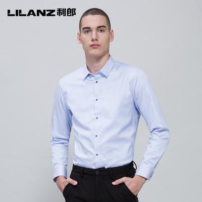 Lilanz/利郎保暖衬衫秋冬季厚款蓝白竖条纹商务休闲衬衣7DZC8021Y