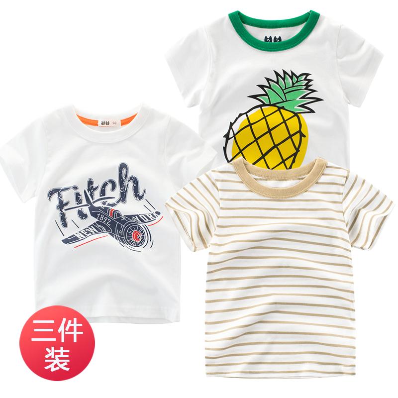 韩版童装夏季儿童短袖t恤纯棉 中小童上衣 2019新款男童半袖汗衫
