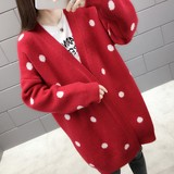 Pregnant women's dot sweater jacket medium-length loose Korean version long-sleeved cardigan jacket spring pregnant women's spring and autumn jacket