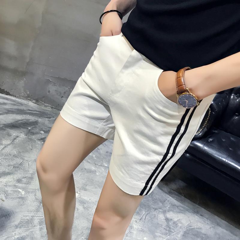 弹力纯色三分裤