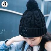 MLB男女秋冬保暖棒球帽子黑色洋基队NY球球毛线帽 金小姐正品