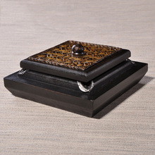 东南亚家居饰品  新古典泰国手工烟灰缸  雕花实木烟灰缸  带盖