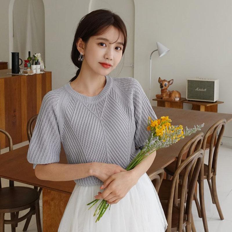 韩国代购插肩袖针织衫正品时尚起义2019春装新款半袖毛衣女777955