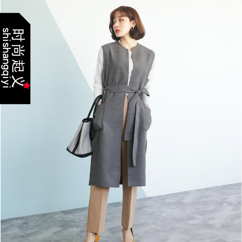 韩国代购正品长款马甲时尚起义2018春装新款时尚系带马甲女723030