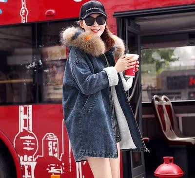 欧洲站冬季中长款刺绣宽松大毛领连帽加厚牛仔棉衣女棉服加绒外套