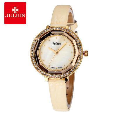 韩国正品Julius潮流母贝面立体切割皮带水钻女士手表时尚复古女表