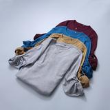 舒适为主 圆领+纽扣设计 男士套头针织衫可挽袖打底衫 多色选A796