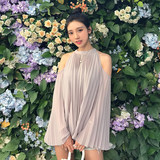 Zhang Mier 2018 summer new pleated strapless chiffon shirt temperament loose sexy hanging neck long sleeve sunscreen shirt