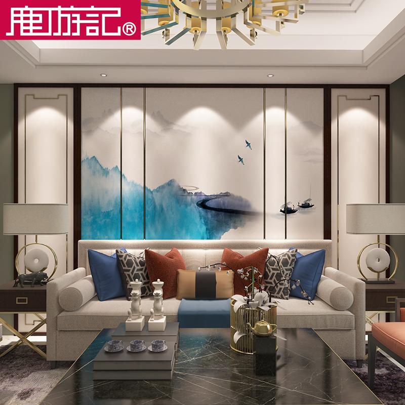 现代软包背景墙简约卧室新中式沙发客厅电视背景硬包皮革定制边框