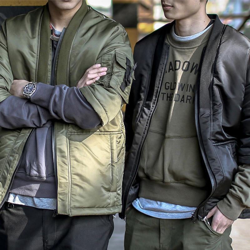 ENSHADOWER隐蔽者 秋冬男装可拆卸袖机能厚款道袍MA-1棉服外套