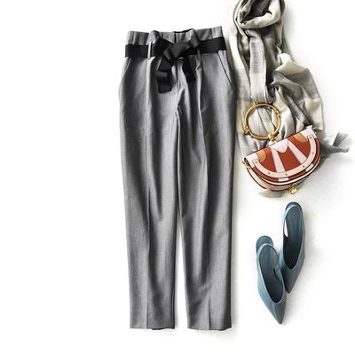 贝丽花园 黑色蝴蝶结系带 修身显瘦直筒裤九分西裤女2018秋季新款