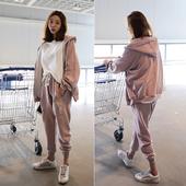 洗水磨破拉链帽衫 秋季新款 休闲运动套装 帅气时尚 现货韩国进口女装