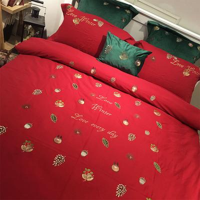 欧式全棉磨毛加厚刺绣新婚庆床品四件套 纯棉结婚床上用品大红色