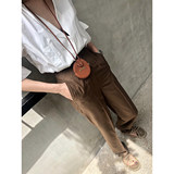 SOTHEA 2019 spring new simple slim fine spinning wool high-waisted straight pants casual pants