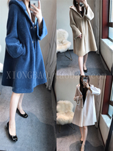 Heavy chao! Last year 1000 + temperament long wool suede wool with cap overcoat woman