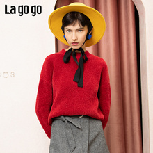 Lagogo 2008 winter new round collar pullover, thick sweater, loose short knitted sweater HCMM43ZA22