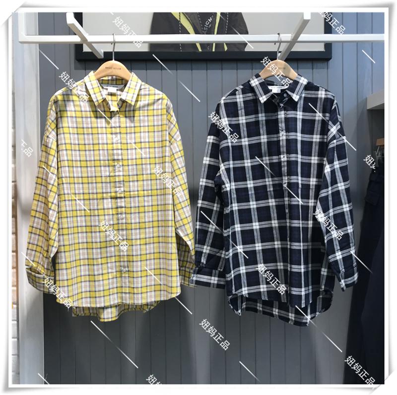 Basic House/百家好2019年春季专柜正品女式格子衬衫HTWS127A-598