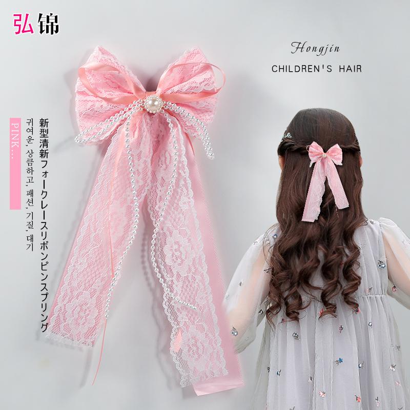 韩国蕾丝蝴蝶结发夹发饰儿童可.