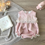 Sparkling baby onesies summer newborn sleeveless bag fart clothes female baby full moon princess clothes cute