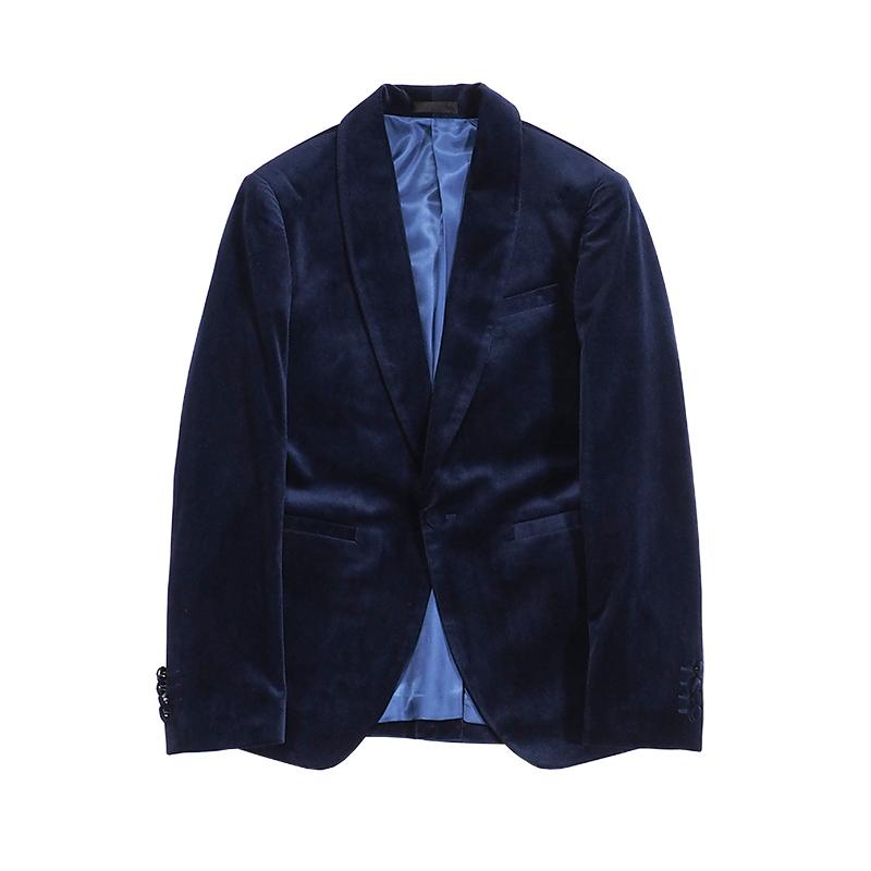 轻奢质感蓝色丝绒西服男修身青年丝绒小西装男休闲灯芯绒西装外套