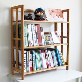 楠竹简约现代学生桌面小书架飘窗儿童置物架多层实木落地收纳书架
