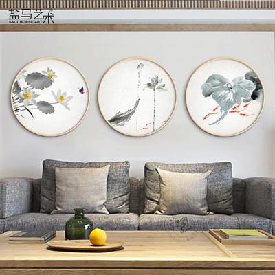 新中式客厅水墨荷花装饰画圆画实木圆框画国画莲年有鱼家居壁挂画今日特惠