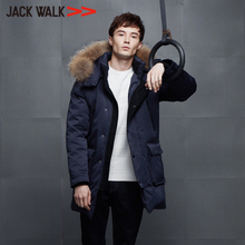 2017冬季新品 JACKWALK拉夏贝尔男装 青年毛条连帽中长款羽绒外套