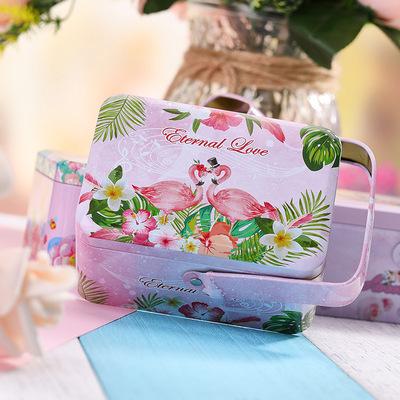 新款喜糖盒结婚婚庆马口铁喜糖生日满月卡通手提通糖盒小清新礼盒