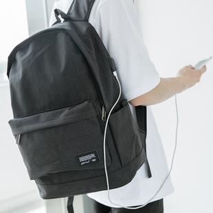 新款 大容量男式背包可充电帆布双肩包大学生书包简约青少年电脑包