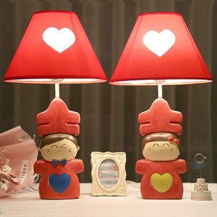 喜娃婚庆台灯卧室床头灯 红色婚房台灯创意时尚可爱温馨结婚礼物