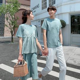 茵茵情侣装夏装连衣裙成熟宽松百搭拼接小众设计感女连衣裙男T恤图片
